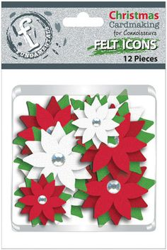 Fundamentals: Felt Icons. Felt flowers in shades of the winter holiday season will make a great addition to any handmade card or scrapbook page! Each flower features three layers of felt petals and leaves with a rhinestone jewel center.