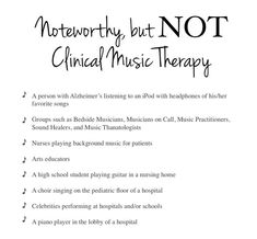 Setting the Record Straight: What Music Therapy Is and Is Not. This list is music that is therapeutic to some but is NOT music therapy. Music therapy services must always be administered by a Board Certified Music Therapist. Music Lesson Plans, Music Lessons, Music Therapy Activities, Movement Activities, Music Essay, Creative Arts Therapy, Therapy Ideas, Music And The Brain, Musica