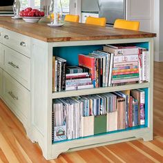 Cookbook storage: I could add on to the island! Open Shelves When you want cookbooks close at hand, provide shelves at least 10 inches deep and 12 inches high, or size them to your biggest books. Diy Kitchen Island, Kitchen Redo, New Kitchen, Kitchen Ideas, Kitchen Hacks, Eclectic Kitchen, Kitchen Designs, Country Kitchen, Kitchen Cabinet Organization