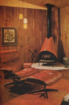 No windows, I just love the look of this room! Image from Better Homes and Gardens Decorating Book Published 1968 Look at that fireplace. Mid Century Interior Design, Mid-century Interior, Vintage Interior Design, Vintage Interiors, Mid Century Modern Design, Mid Century Modern Furniture, Retro Furniture, 1970s Decor, 70s Home Decor