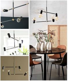 An adjustable black and gold detail 4 light pendant which pays attention to the bare bulbs. We love the functionality of the 360 degree arms! Light Pendant, Pendant Lighting, Ceiling Lighting, Bulbs, Black Gold, Arms, Living Room, Detail, Furniture