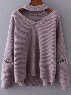 Purple Choker V Neck Zipper Detail Sweater