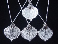 "Wedding Jewelry - FOUR Bridesmaid Gift Necklaces  Real Aspen Leaves   Fine Silver  -16"" Sterling Silver Rope Chains."