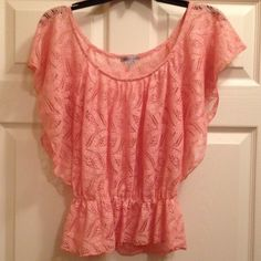 Pretty Pink Lace Top-Reposh Very Pretty Lace Pink Top. Just too Small for my Daughter. SM/XS size. No defects or stains. Feel free to ask questions, thanks for stopping by Andreas Closet. Charlotte Russe Tops Blouses