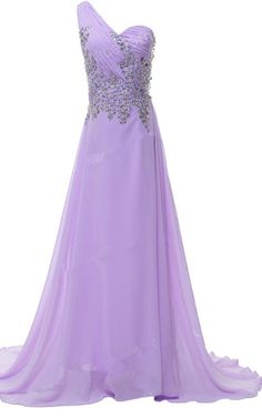 Beading Crystal Sequined Pleated Floor Length Purple Chiffon One Shoulder Sleeveless Long Prom Dress