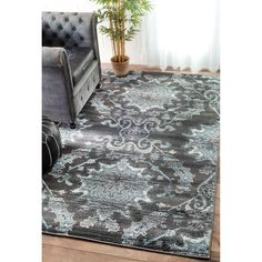 nuLOOM Vintage Adileh Reflection Grey Rug (8' x 10') | Overstock.com Shopping - The Best Deals on 7x9 - 10x14 Rugs