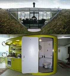 Teletubby Cave Home * The Malator in Druidstone, Wales has a turf roof with peephole doorway. It's been nicknamed the Teletubby house for obvious reasons, but we actually think it's quite cool. Below ground, a giant room is colorful and contemporary — vastly different from the nearly invisible, glass exterior. Prefabricated pods keep things neatly divided and organized in the small space.