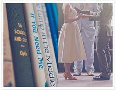 LIBRARY. WEDDING. And orange shoes!?! Glory.