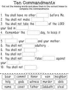 Ten Commandments Cut & Paste Worksheets for Big & Little Kids - Protestant