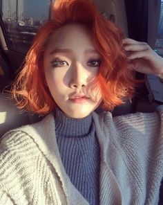 This is what I want my hair to look like!!! So. Perfect.// Hwasa from Mamamoo looking stunning in orange