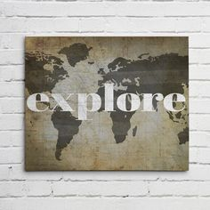 Old style world map canvas print triptych for the home explore world map wall art canvas or graphic print sciox Images