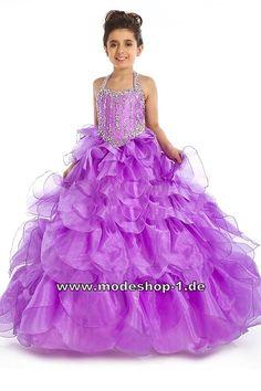 Rüschen Blumenmädchenkleid Abendkleid Ballkleid für Mädchen Lila Flieder Violett  www.modeshop-1.de