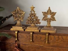 "$54.99-$79.99 Set of 3 Cognac Library Gold Stars and Tree Christmas Stocking Holders 8"" - From the Cognac Library Collection Item #36554 Features three different style Christmas stocking holders in a rich gold finish Stocking holders are one-sided Dimensions of each holder: 8""H x 5""W x 3""D Material(s): polyresin http://www.amazon.com/dp/B003YI5FZK/?tag=pin2wine-20"