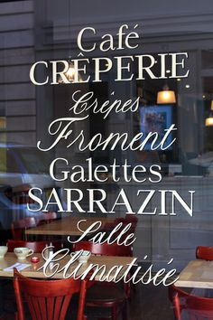 Paris Cafe and Creperie Window Typography