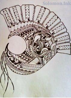 Tribal hawaiian warrior helmet.