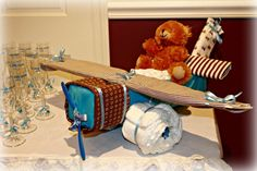 Blue and Brown Teddy Baby Shower | CatchMyParty.com