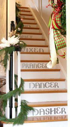 "DIY project: ""Dasher Dancer Prancer..."" Stenciled Staircase using a Cricut machine"