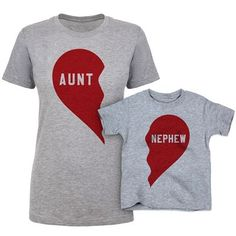 Aunt and Ne[hew Matching Outfit - set of t shirts that include all sizes including plus sizes, toddler, youth and more with a split heart that matches