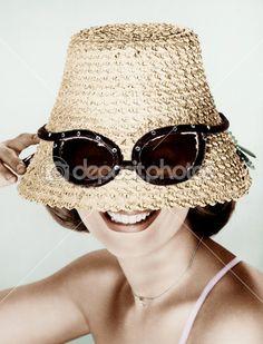 197c1b18 Woman wearing hat with fake sunglasses — Stock Image #12302682 Sports  Sunglasses, Cat Eye