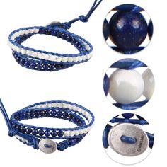Lapis Lazuli & Turquoise 2 Wrap Leather Bracelet Jewelry Handmade Chain Bangle #Unbranded #BangleCharmCuff