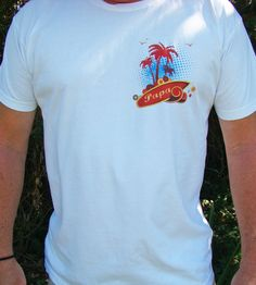 Papa surf Tee shirt - Left chest Papa, surf Palm tree - American Apparel Power Wash Tee - S - 2XL (3 color choices)