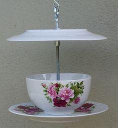recycled teacup bird feeder