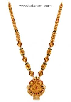 Buy 22K Gold '2 in 1' Peacock Long Necklace (Temple Jewellery) - GN1572 with a list price of $2,472.99 - 22K Indian Gold Jewelry from Totaram Jewelers