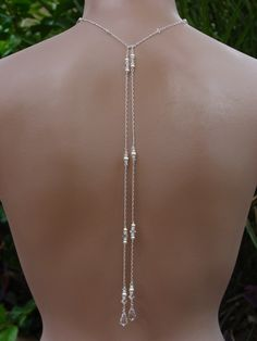 Bridal Lariat Necklace with Swarovski Pearls, Crystals and  Teardrops with Long Backdrops - Handmade Wedding Jewelry. $60.00, via Etsy.