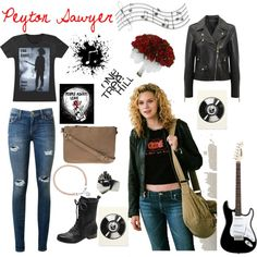Peyton Sawyer by lindsay-sides on Polyvore featuring Versace, Current/Elliott, Vince Camuto, Vanessa Bruno, Femme Metale Jewelry, Astley Clarke, Music Notes and Burton