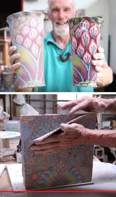 Artist Dean McRaine owns LightWave Pottery in Kauai, Hawaii. McRaine specializes in psychedelic pottery, which he makes from colored clay rather than paintin. Ceramic Clay, Ceramic Pottery, Ceramic Glaze Recipes, Pottery Videos, Art Therapy Activities, Black And White Painting, Ceramics Projects, Pottery Making, Pottery Painting