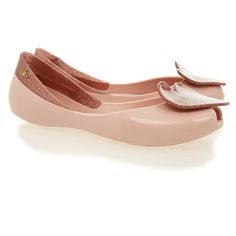Vivienne Westwood for Melissa Queen 15 Blush Rose Heart Flats (4,655 INR) ❤ liked on Polyvore featuring shoes, flats, pink, polish shoes, pink peep toe flats, pink peep toe shoes, pink glitter flats and pink shoes