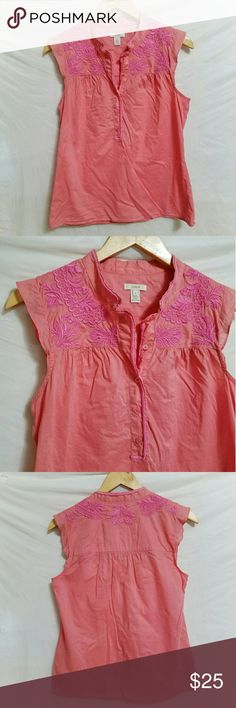 🌷SALE J. Crew embroidered sleeveless top Coral with bright pink embroidery across the shoulders. Lightweight. Flutter sleeves. Half button. Retail, not factory. 100% cotton. About 19 inches across the chest from armpit to armpit. J. Crew Tops