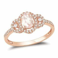 10k Pink Gold 1/2 CT TGW Morganite 1/6 CT TDW Diamond Fashion Ring (G-H, I2-I3) Amour. $303.99