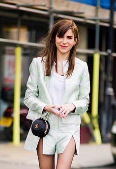 Caroline Sieber - Christopher Kane mint skirt suit and Chanel bag.