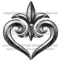 Solid Fleur De Lis Heart tattoo design by Anton Kryuchkov Future Tattoos, Love Tattoos, New Tattoos, Tribal Tattoos, Small Tattoos, Tatoos, Tatoo Art, Tattoo You, Fluer De Lis Tattoo