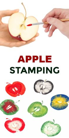 Turn apples into art and make apple stampers. Fall preschool printing craft for kids. Turn apples into art and make your own apple stampers ! This is one Fall craft we revisit every year. We always begin by going apple picking. Apple Activities, Creative Activities For Kids, Autumn Activities For Kids, Fall Preschool, Preschool Crafts, Fall Arts And Crafts, Easy Fall Crafts, Fall Crafts For Kids, Craft Kids
