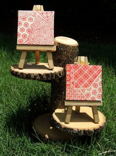 Two matching red and white mini canvases! by cutelittlecanvases, $15.00 #canvasart #handmade #art
