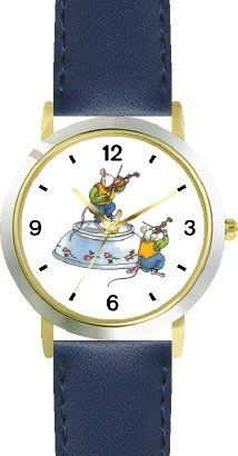 Ole or Old King Cole - Fiddlers No.1 - from Mother Goose by Artist: Sylvia Long - WATCHBUDDY® DELUXE TWO-TONE THEME WATCH - Arabic Numbers - Blue Leather Strap-Size-Children's Size-Small ( Boy's Size & Girl's Size ) WatchBuddy. $49.95