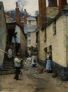 'Old Newlyn', Oil On Canvas by Stanhope Alexander Forbes (1857-1947, Ireland)