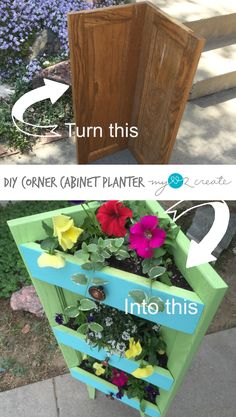 Make a corner planter out of old cabinet doors.  This planter is perfect for a small corner on your patio or porch.