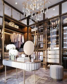 Luxury Walk In Closet Design Ideas for the Sophisticated Home Dressing Room Decor, Dressing Room Closet, Dressing Room Design, Dressing Rooms, Dressing Table, Walk In Closet Design, Bedroom Closet Design, Closet Designs, Wardrobe Room