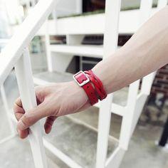Buckle Leatherette Knit Bracelet