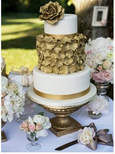 White & Gold Wedding Cake-a favorite!!!