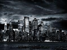 b&w cityscape