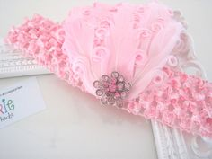 pink curled feathers with rhinestone accent headband - newborn photo op, flower girl, wedding by JMarieForKids on Etsy