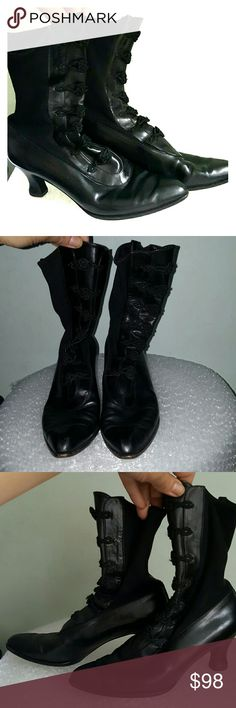 """Stuart Weitzman saloon Victorian ankle boots 7 B Vintage pair! 2.5"""" black stacked heel. Leather outsole. Leather upper with grosgrain- like stretchy fabric. Chinese knot detail at the front leather panel. Style #16047. Stuart Weitzman logo insawn onto footbed. Some very light scuffing, left boot has a tiny scub on a side. Good vintage condition. Stuart Weitzman Shoes Ankle Boots & Booties"""