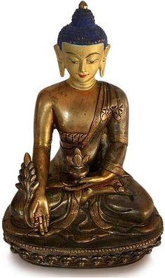 Antique Tibetan Gilded Three Metals Medicine Buddha