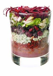 Stacked salads (make ahead). Great to put into a Mason Jar too!
