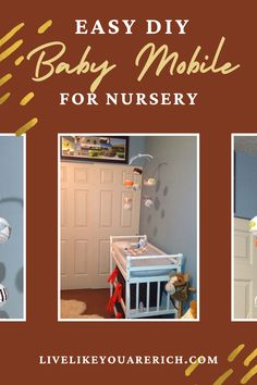 A great idea for decorating a nursery. They are often less expensive, match the decor better, and are fun to customize. I made this baby mobile for my son's changing table a few years ago. This would be a great gift for a baby shower as well! #babymobile #nurseryroom #nurserydecor