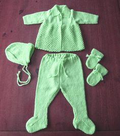 4 Piece Layette   Knit Coat Pants Bonnet & by LaraineRoseHandiWorx